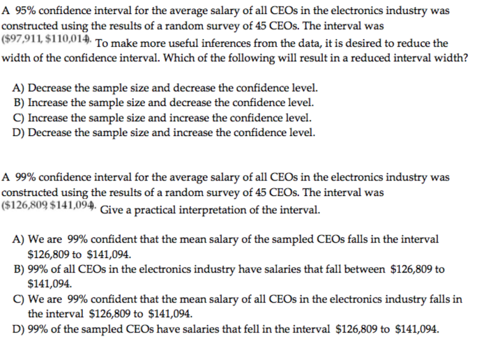 A 95 Confidence Interval For The Average Salary Of All CEOs In Electronics Industry