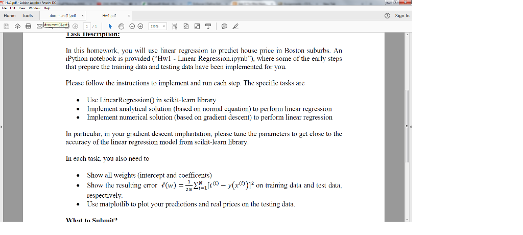 In This Homework, You Will Use Linear Regression T    | Chegg com