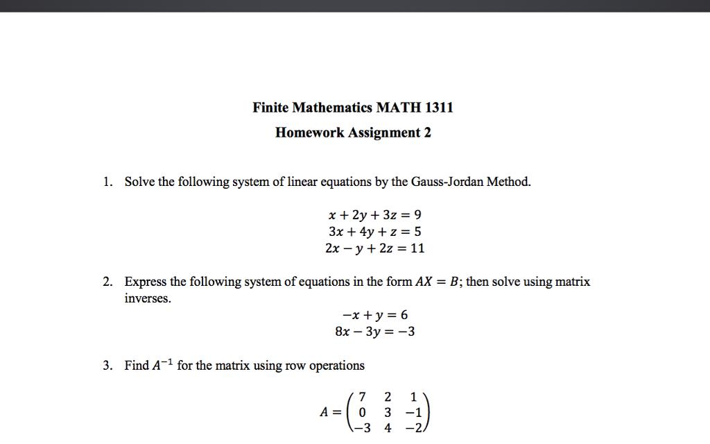 Solved: Finite Mathematics MATH 1311 Homework Assignment 2