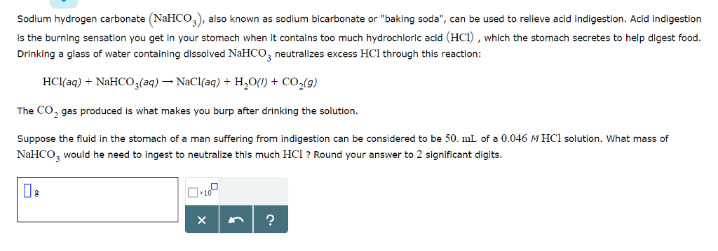 Solved Sodium Hydrogen Carbonate Nahco3 Also Known As