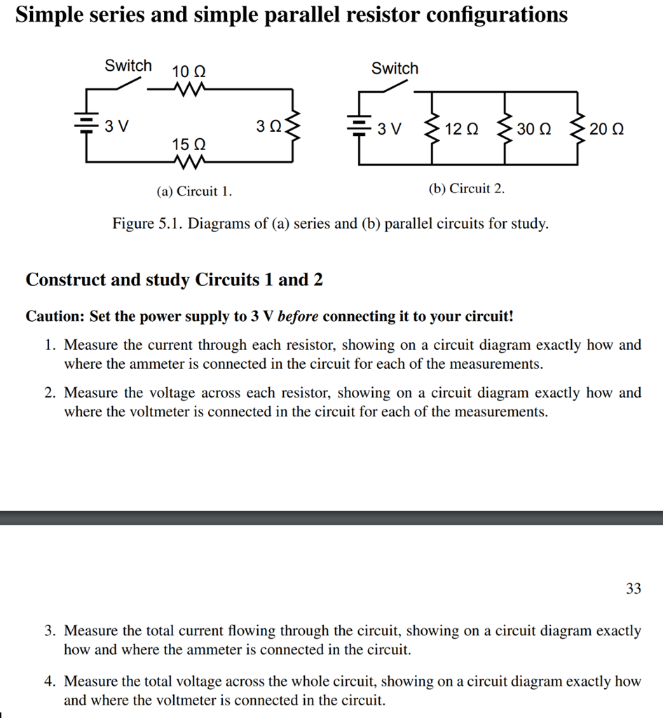 Solved Simple Series And Parallel Resistor Configu Ammeter Wiring Diagram Question Configurations Switch 10 3 15 Vw A Circuit
