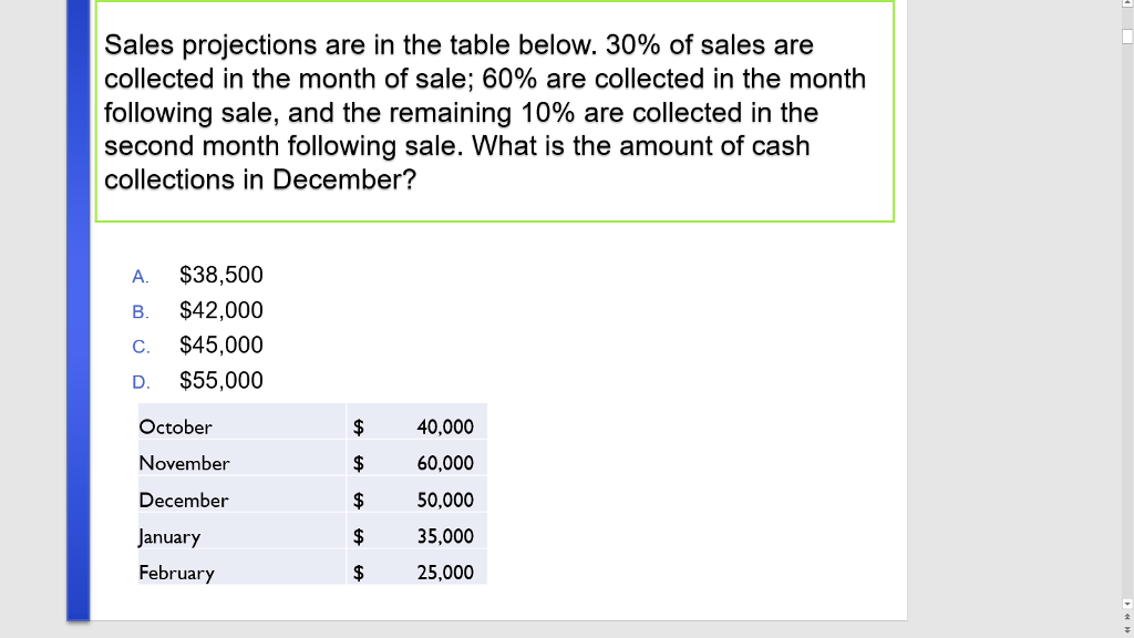 solved sales projections are in the table below 30 of s