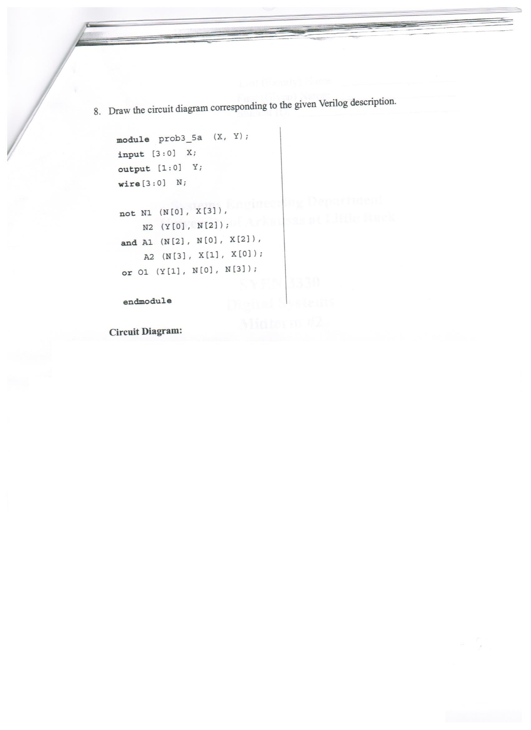 Solved Draw The Circuit Diagram Corresponding To Give A