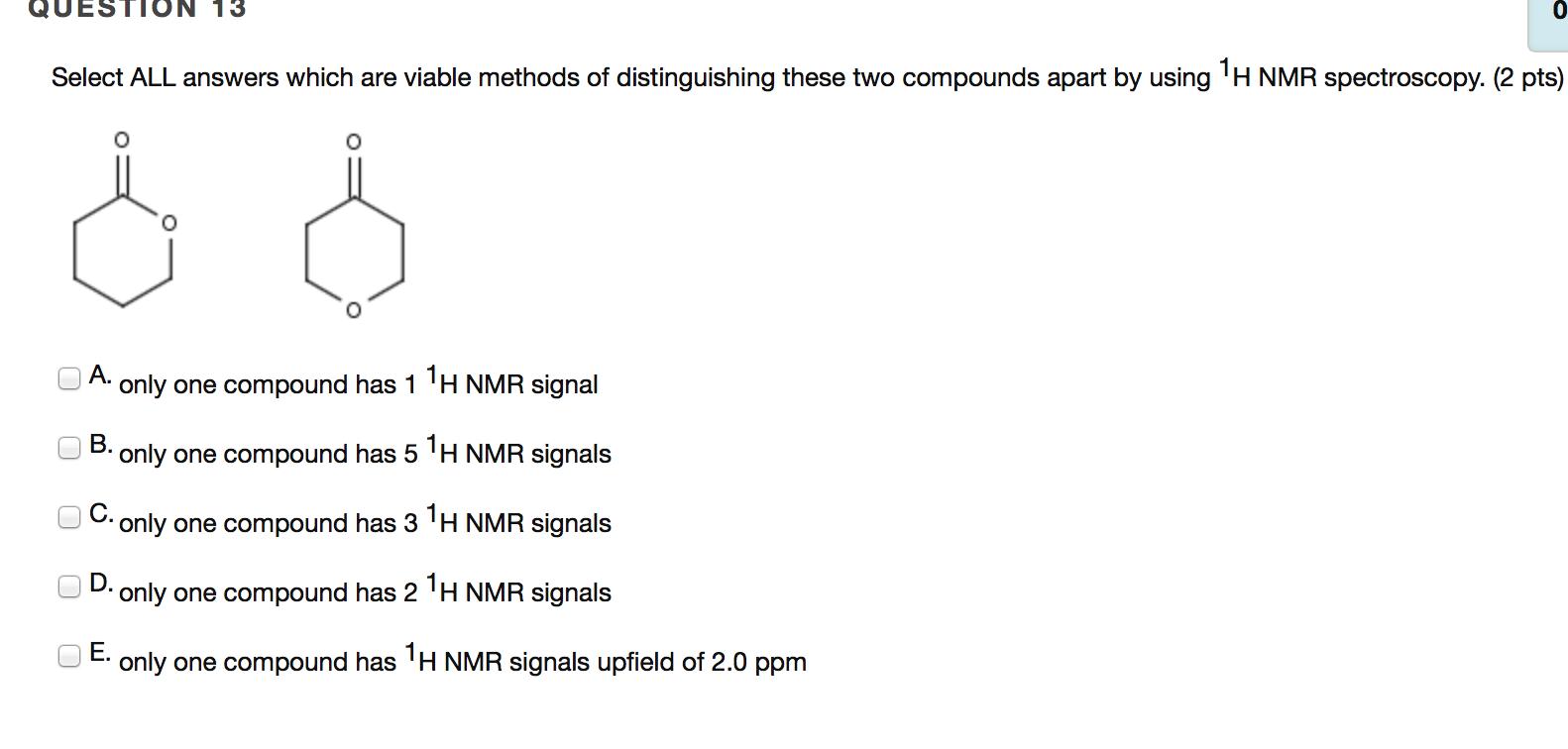 Solved: The Below H NMR Spectrum Corresponds To Which Stru ...