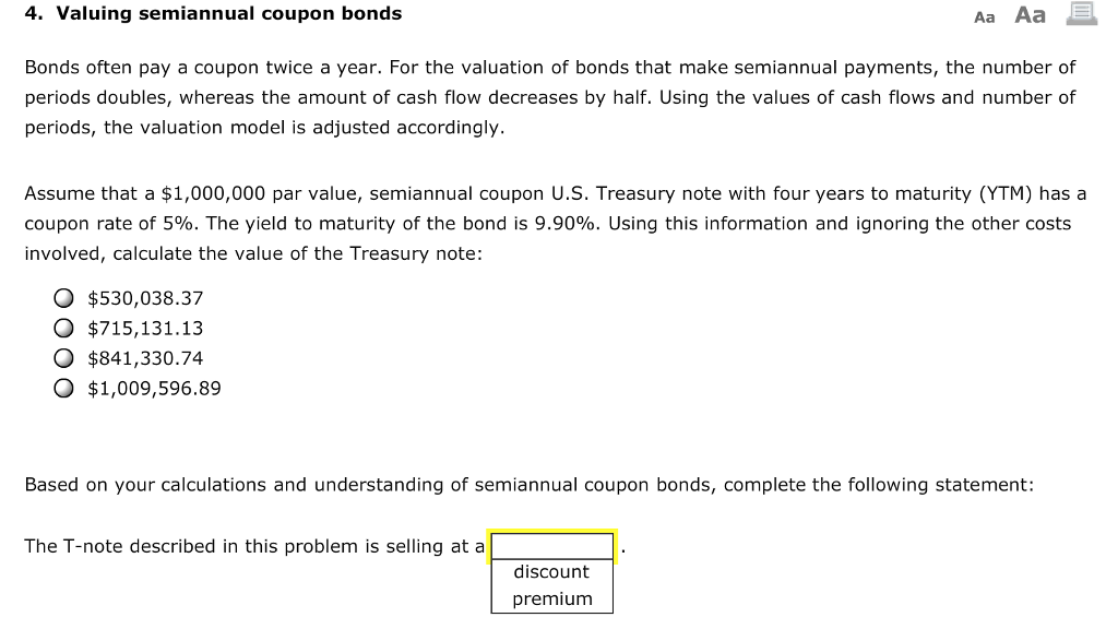 solved 4 valuing semiannual coupon bonds aa aa bonds oft