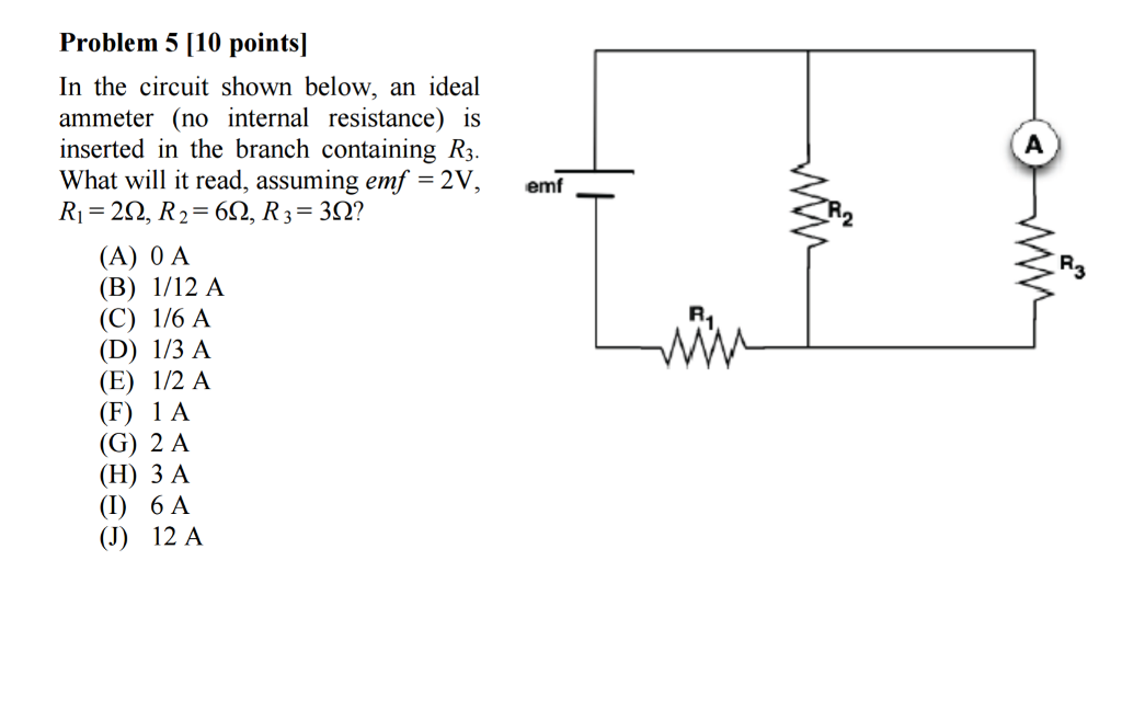 Solved In The Circuit Shown Below An Ideal Ammeter No I