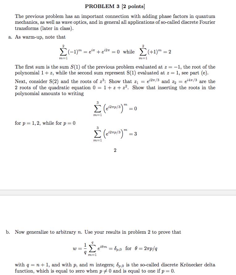 PROBLEM 3 [2 Points] The Previous Problem Has An I