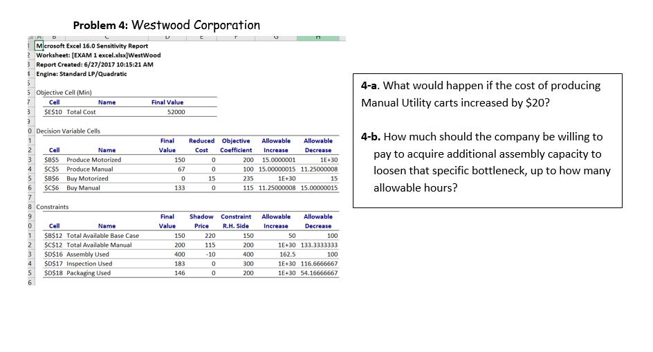 problem 4 westwood corporation excel 16 0 sensiti chegg com rh chegg com