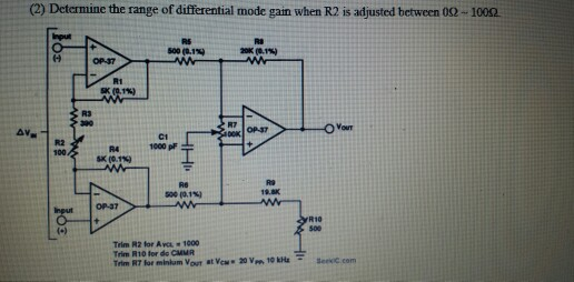 Determine the range of differential mode gam when