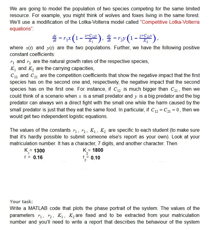 MATLAB Write A Code On A Predator-prey Model (Exam
