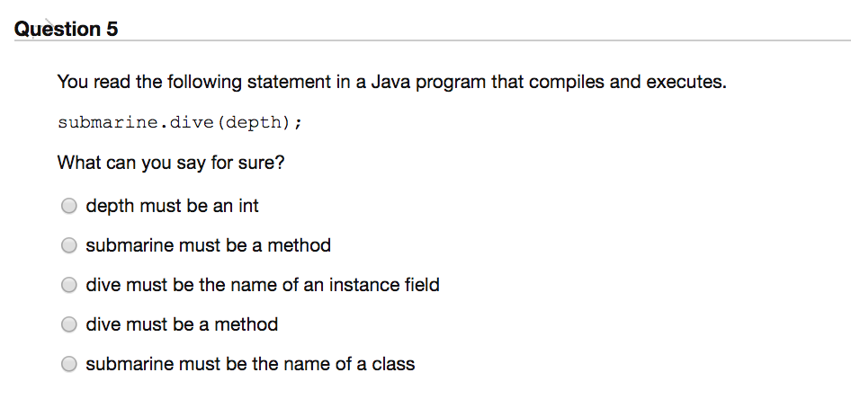 Question 5 You read the following statement in a Java program that compiles and executes. submarine.dive (depth); What can you say for sure? O depth must be an int O submarine must be a method O dive must be the name of an instance field O dive must be a method O submarine must be the name of a class