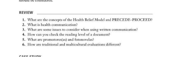 Solved What Are The Concepts Of The Health Belief Model A