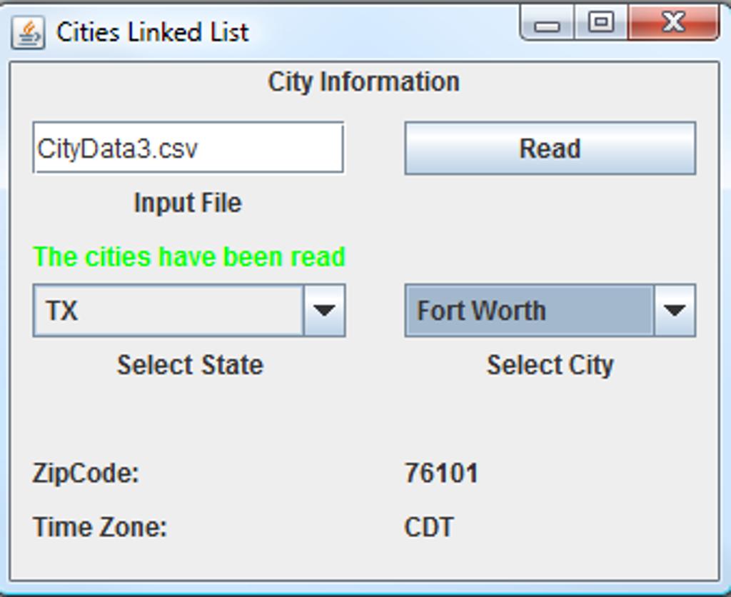The Question: Linked List ATD Create A Java GUI Ap