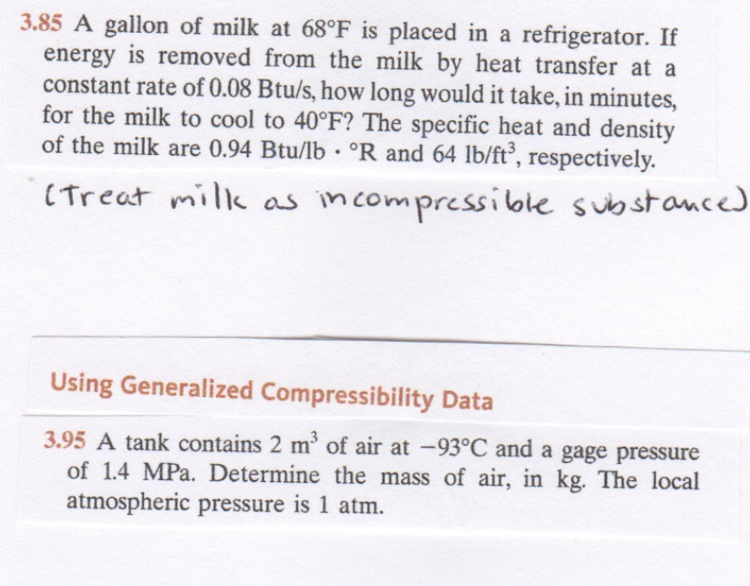 A gallon of milk at 68 degree F is placed in a ref