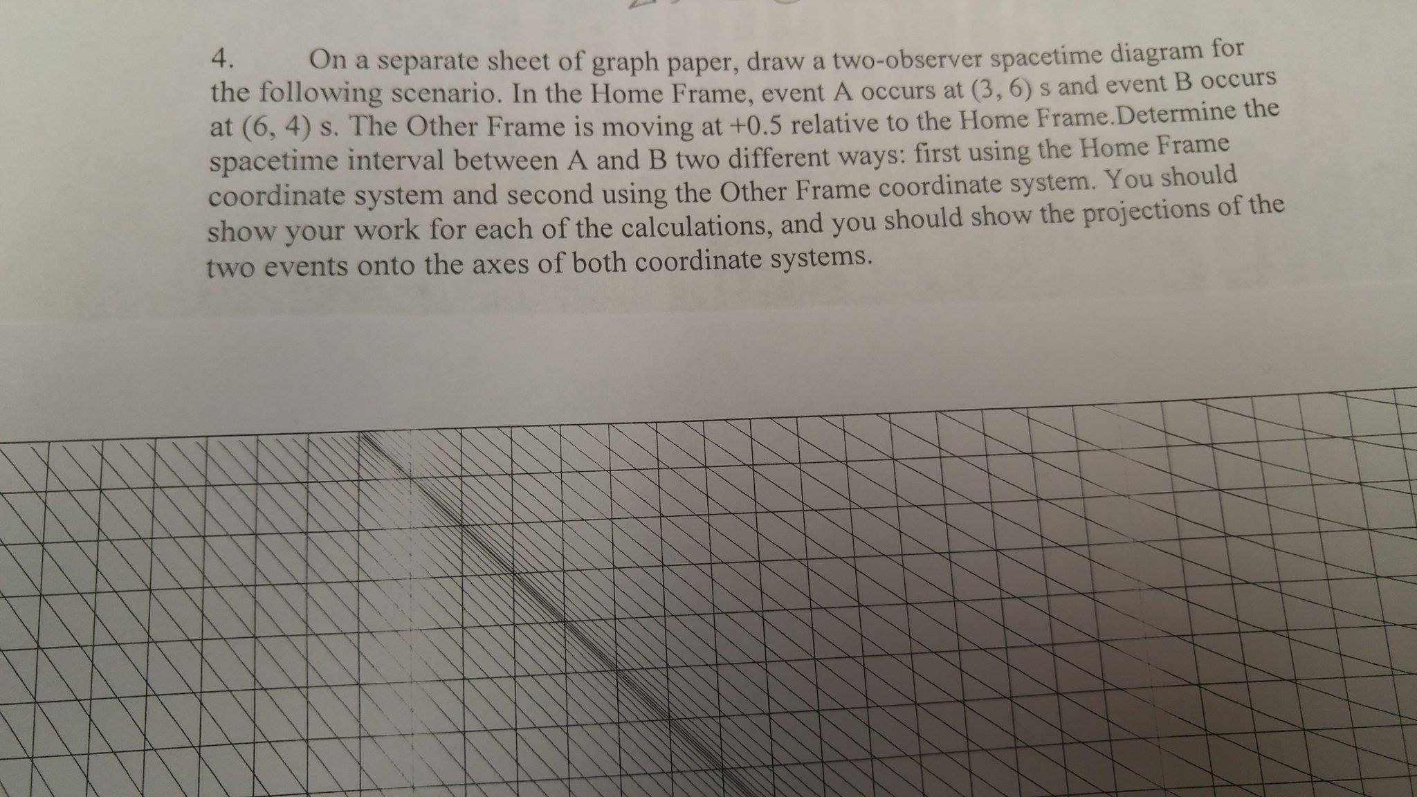 On a separate sheet of graph paper, draw a two-obs