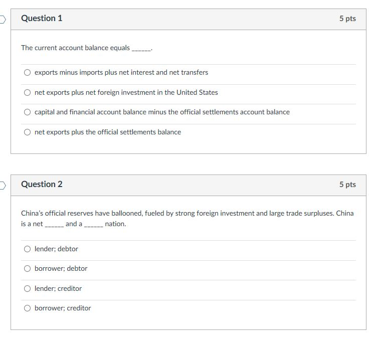 Solved: Question 1 5 Pts The Current Account Balance Equal