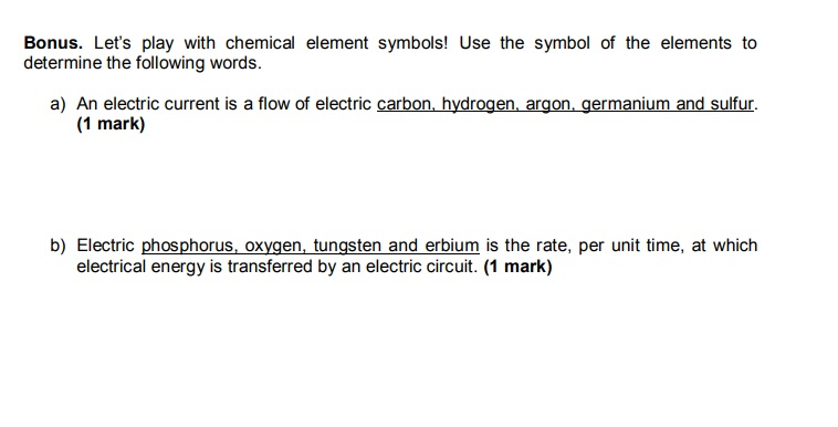 Solved Lets Play With Chemical Element Symbols Use The