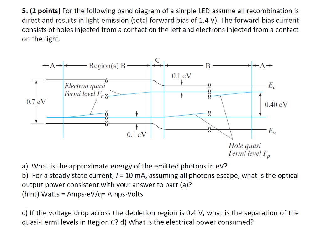 solved 5 (2 points) for the following band diagram of a LED Circuit Breadboard (2 points) for the following band diagram of a simple led assume