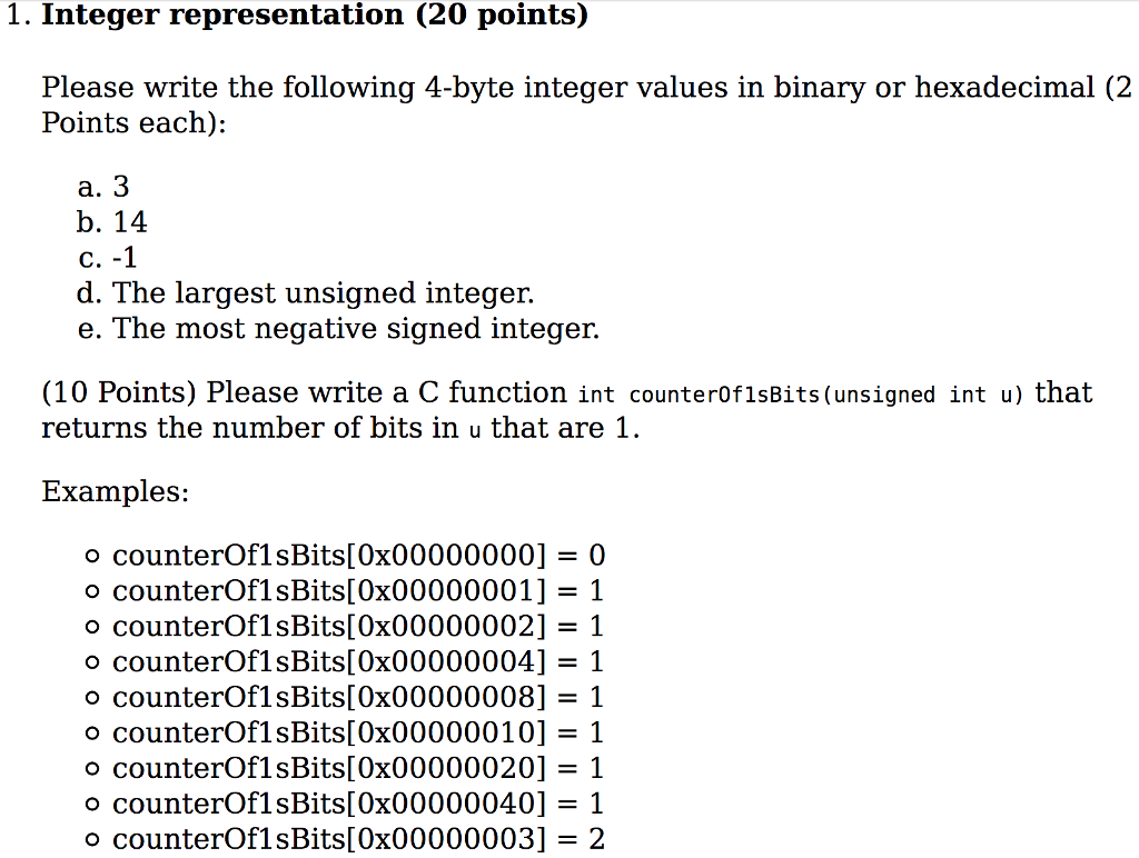 Solved: Write The Following 4-byte Integer Values In Binar