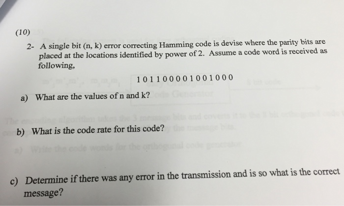 A single bit (n, k) error correcting Hamming code