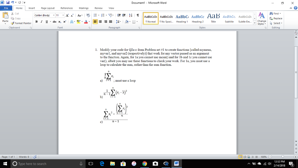 Document1 Microsoft Word Homeert Page Layout Refer    | Chegg com