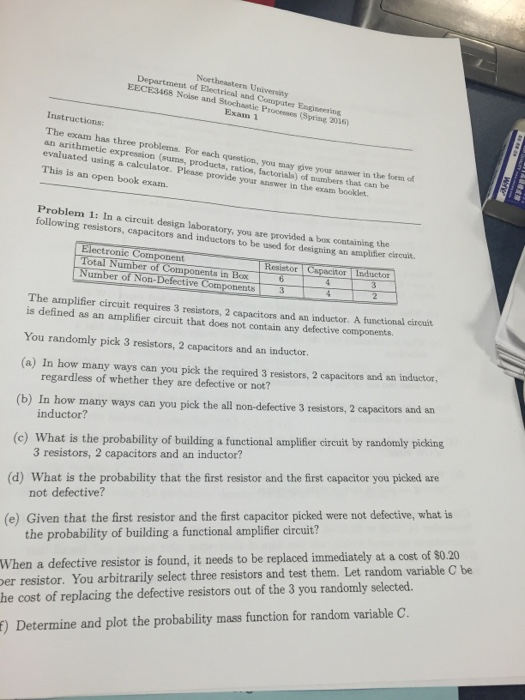 Solved: The Exam Has Three Problems  For Each Question, Yo