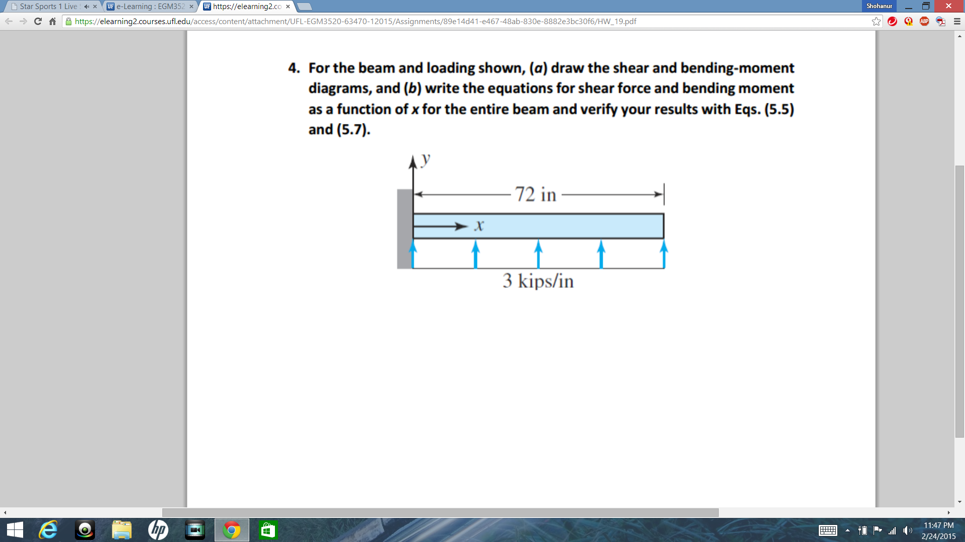 Solved Star Sports 1 Live X Ue E Learning Egm Uf Http G For Accessibility Draw Shear Force And Bending Moment Diagram