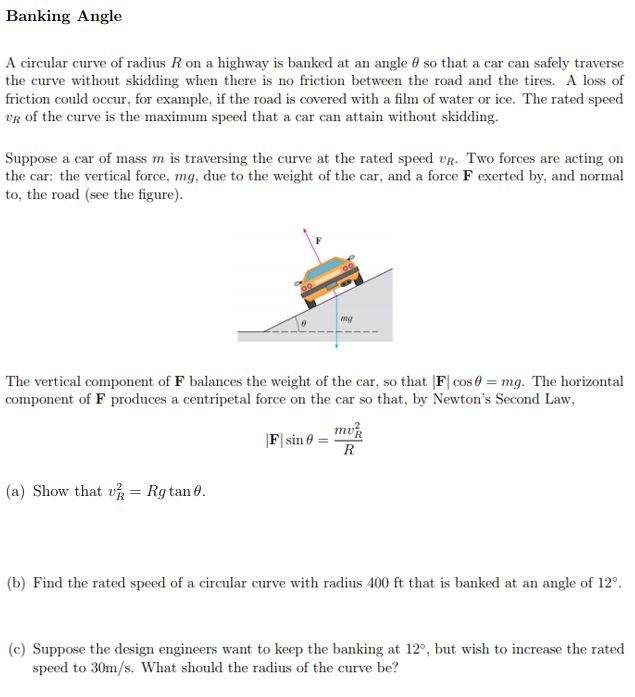 Solved: Banking Angle A Circular Curve Of Radius R On A Hi