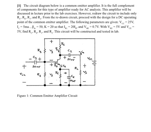 Solved: The Circuit Diagram Below Is A Common Emitter Ampl ...
