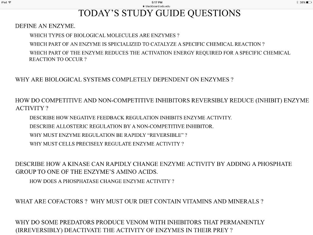 5:17 PM 숱 blackboard.odu.edu 38% TODAYS STUDY