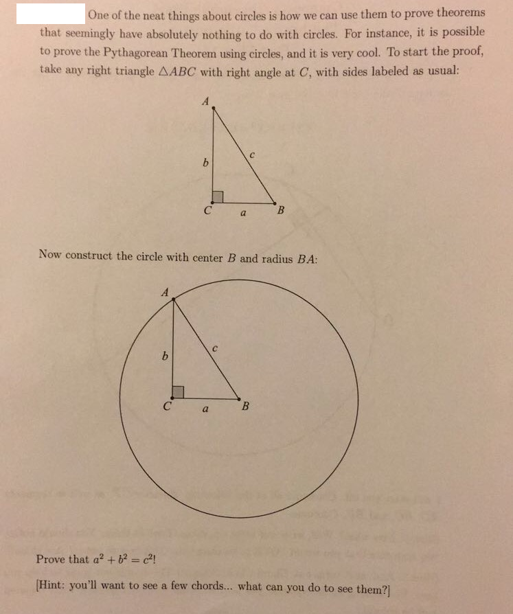 Solved Ne Of The Neat Things About Circles Is How We Can