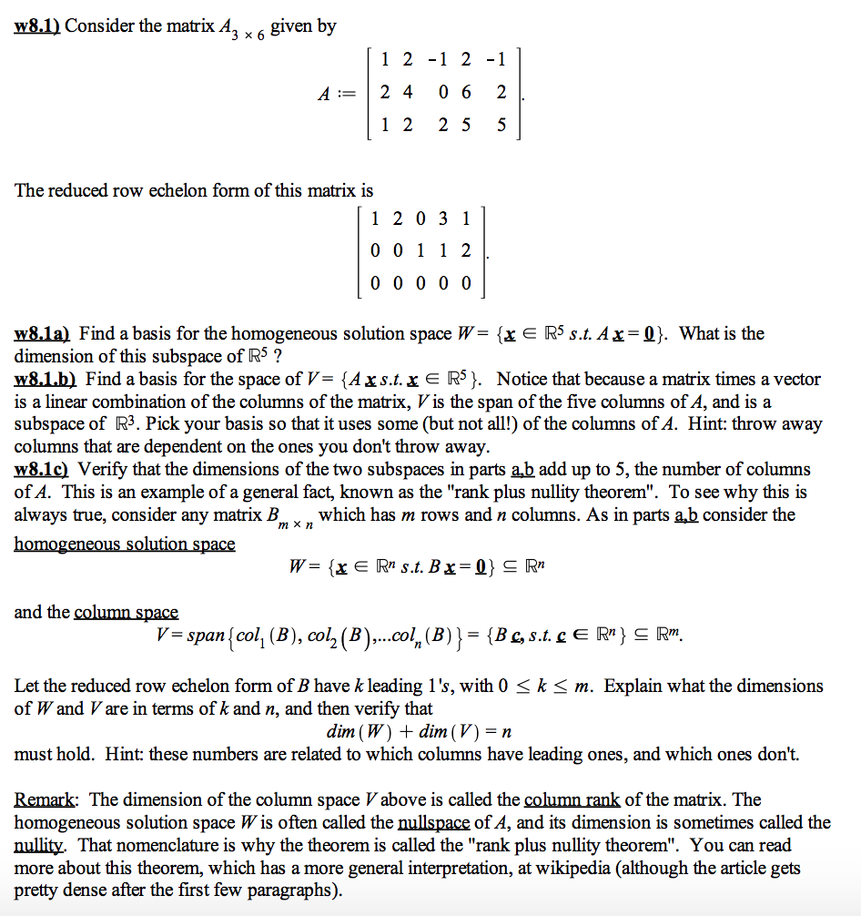 Solved: Consider The Matrix A_3 Times 6 Given By A: = [1 2