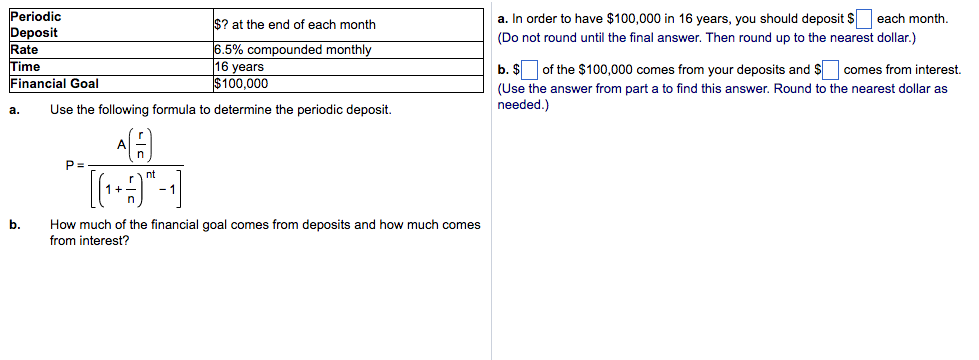 deposit formula  Solved: Use The Following Formula To Determine The Periodi ...