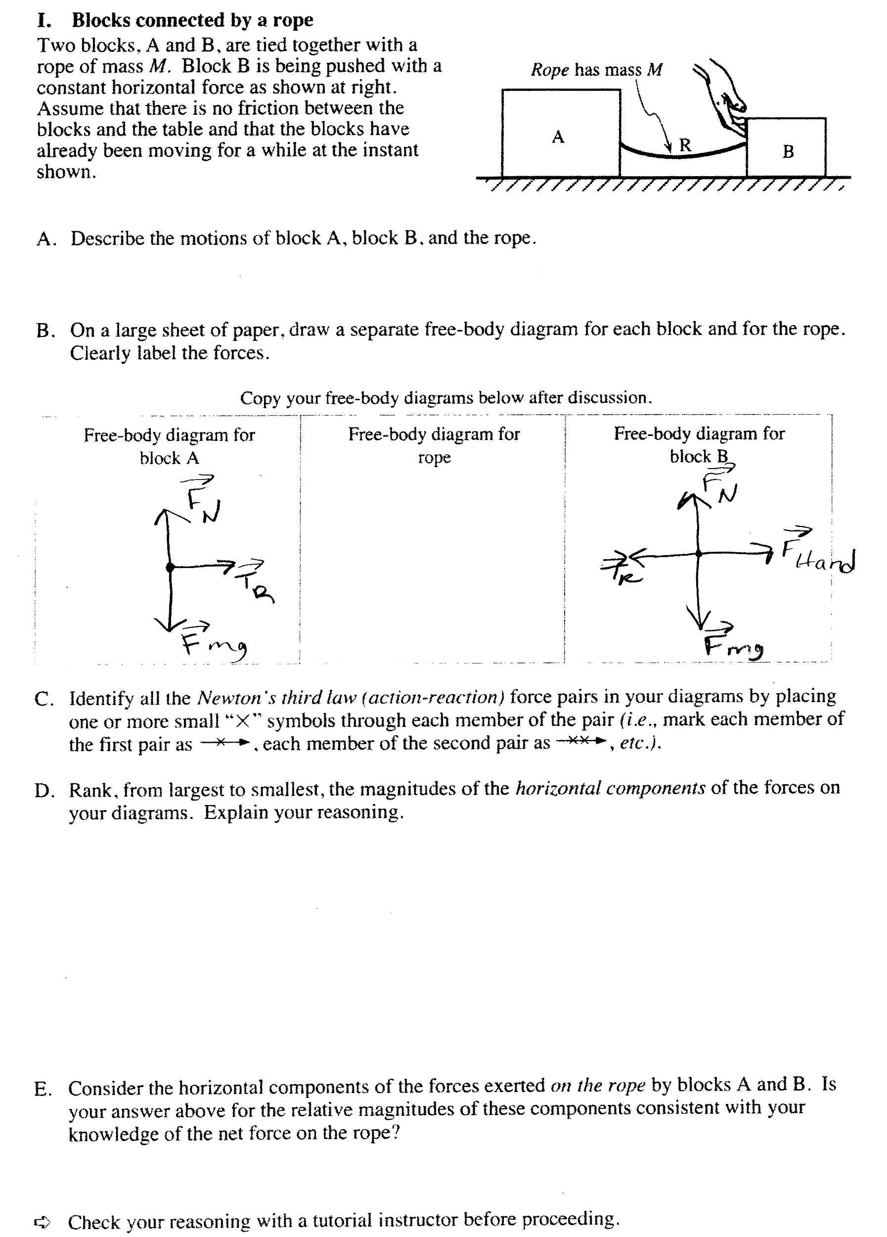 Two Blocks A And B Are Tied Together With Rope Force Diagrams Worksheet Answers On Drawing Free Body Expert Answer