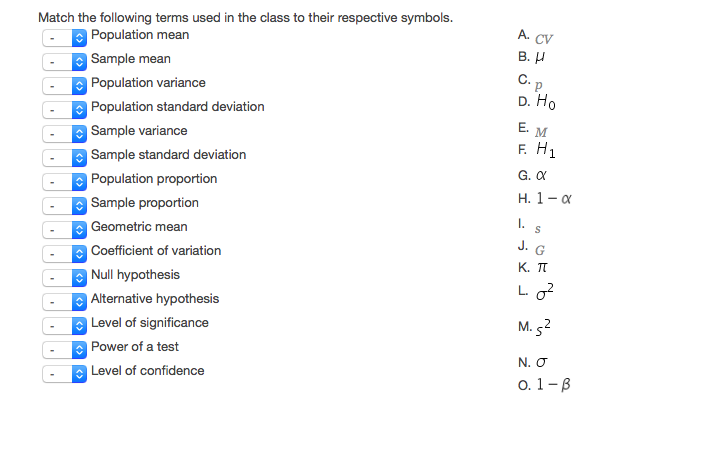 Solved Match The Following Terms Used In The Class To The