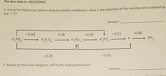 Solved using the following latimer diagramacidic conditi question using the following latimer diagramacidic conditions what is the potential of the missing valu ccuart Choice Image