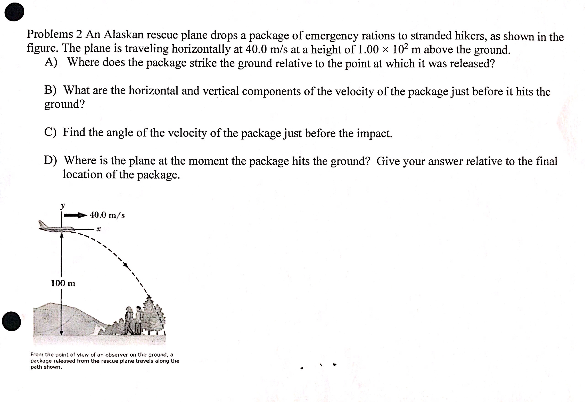 Physics archive november 20 2016 chegg an alaskan rescue plane drops a package of emergen pooptronica