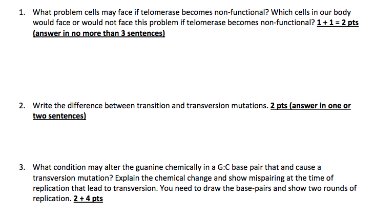 Solved: 1  What Problem Cells May Face If Telomerase Becom