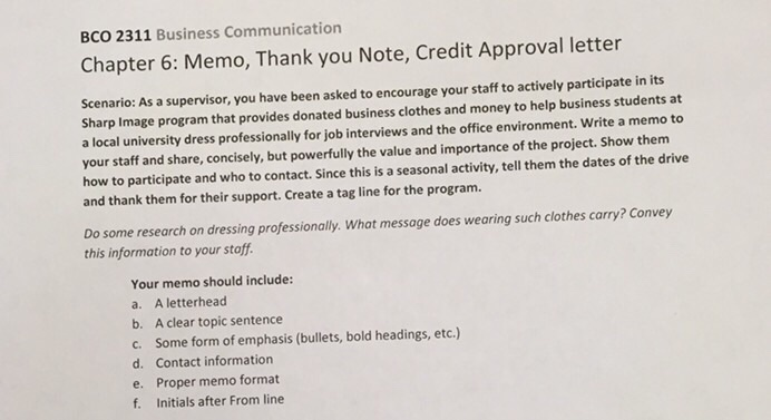 bco 2311 business communication chapter 6 memo thank you note credit approval letter