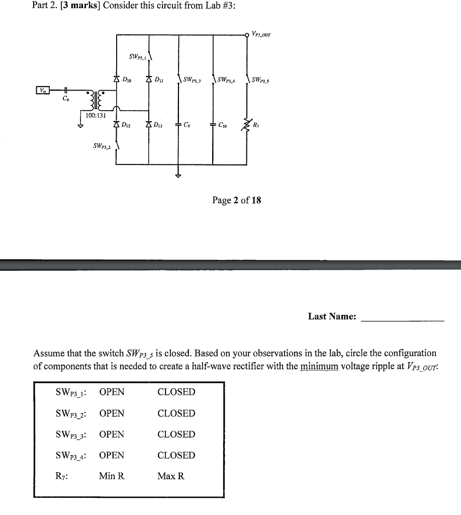 Solved: Part 2. [3 Marks] Consider This Circuit From Lab ...