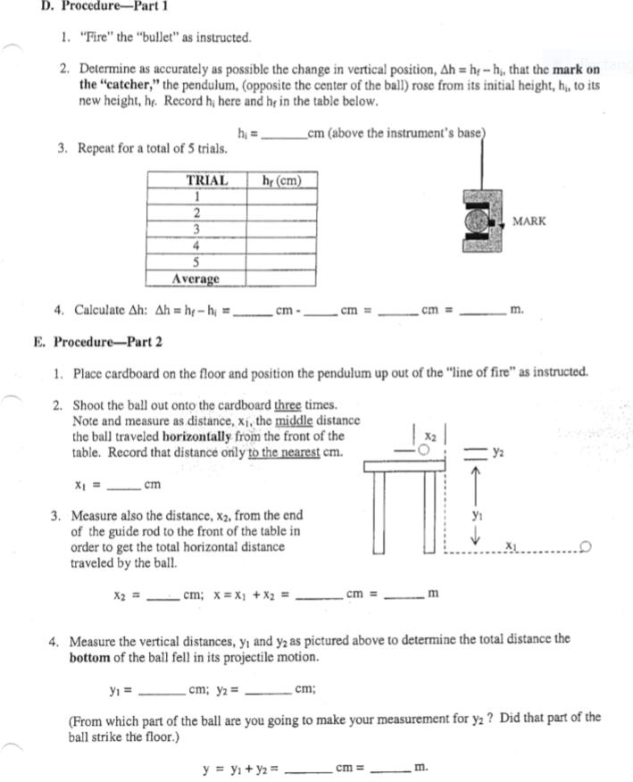Solved: The Ballistic Pendulum Lab Data Trial Hf (cm) 1 19