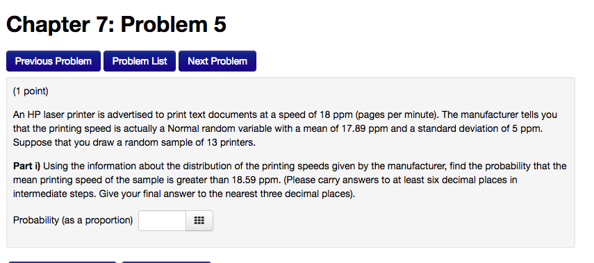 Solved: Chapter 7: Problem 5 Previous Problem Problem List