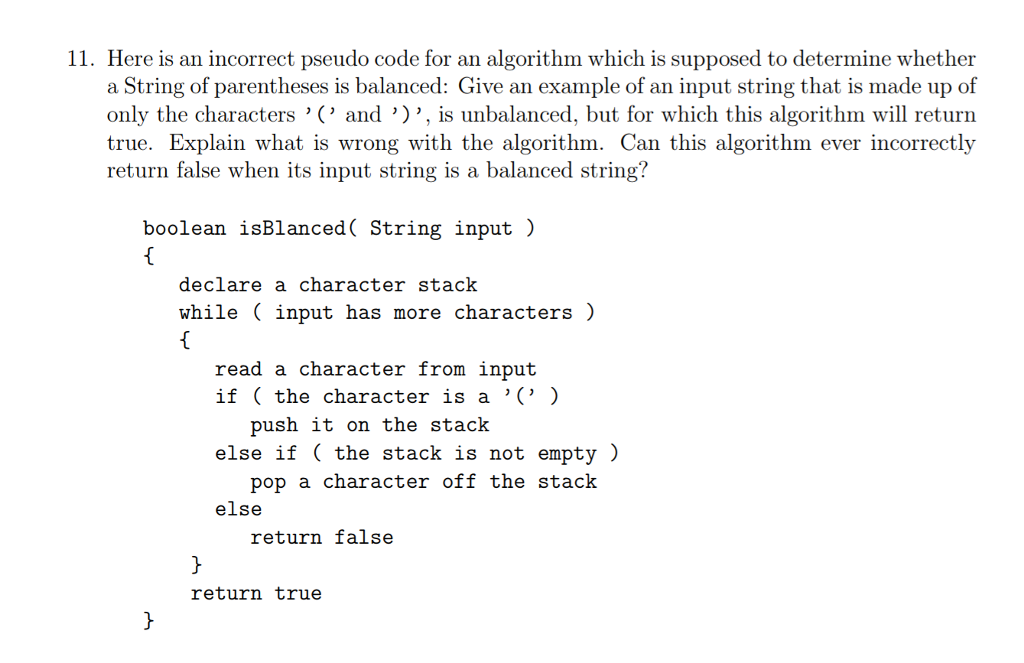 Solved 11 Here Is An Incorrect Pseudo Code For An Algori