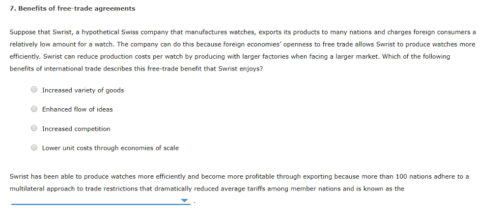 Solved 7 Benefits Of Free Trade Agreements Suppose That