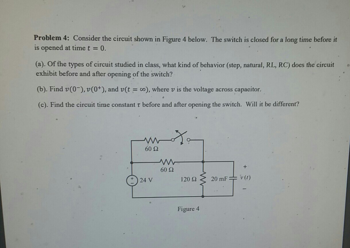 Solved: Problem 4: Consider The Circuit Shown In Figure 4 ...