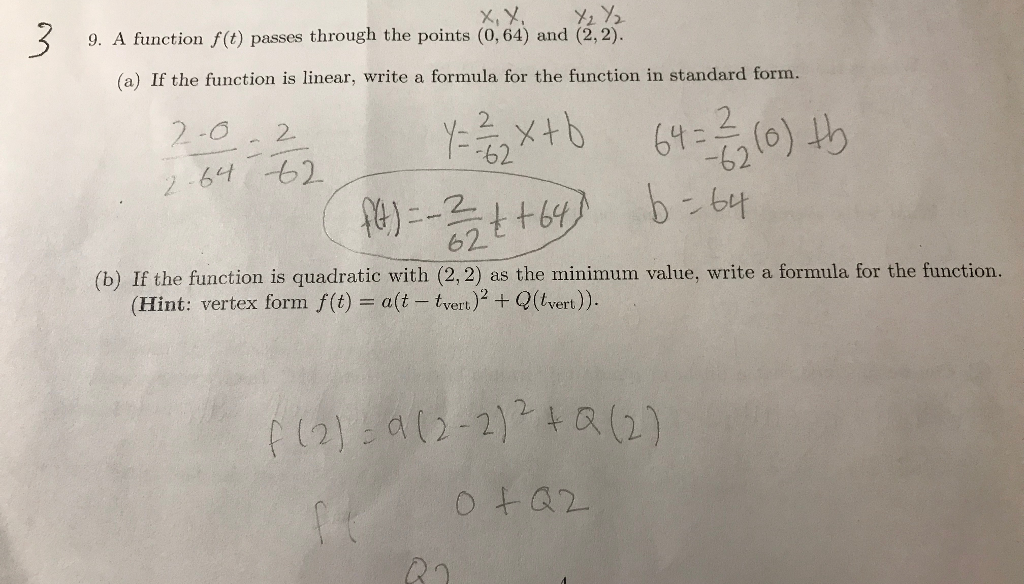 Solved 9 A Function Ft Passes Through The Points 064