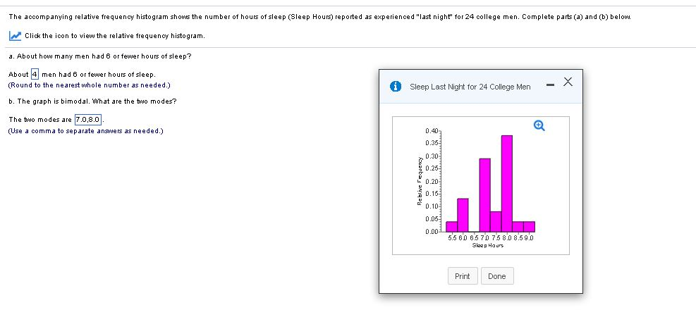 Question The Accompanying Relative Frequency Histogram Shows The Number Of Hours Of Sleep Sleep Hours Re