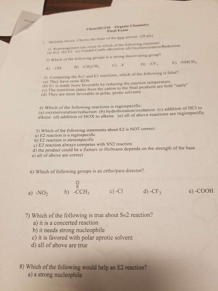 Solved: Chem202/210 Organic Chemistry Final Exam 1  Multip