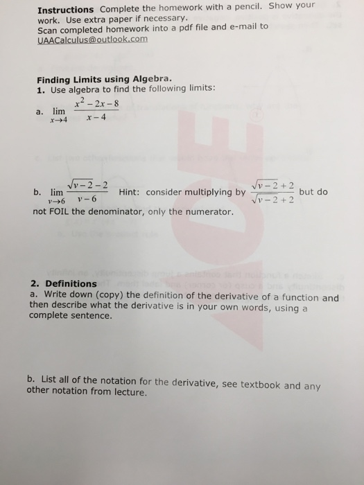 Solved: Instructions Complete The Homework With A Pencil