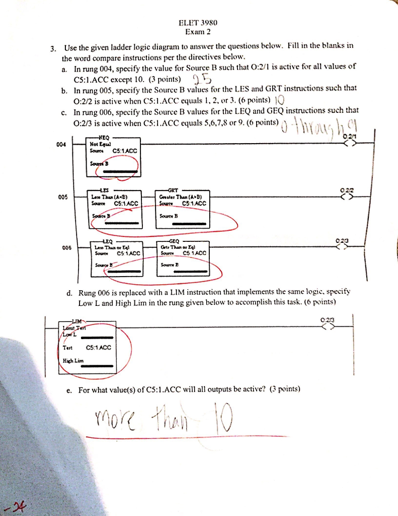 Solved Use The Given Ladder Logic Diagram To Answer Q Pictures Questions